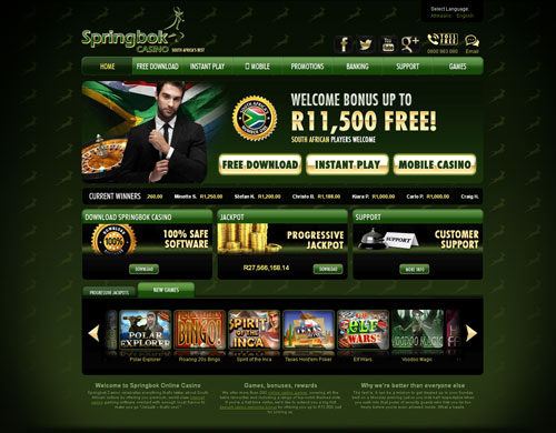 Springbok Casino Home Page Screenshot