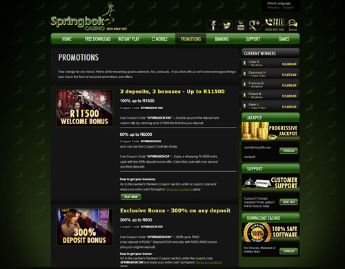 Springbok Casino Promotions Page Screenshot